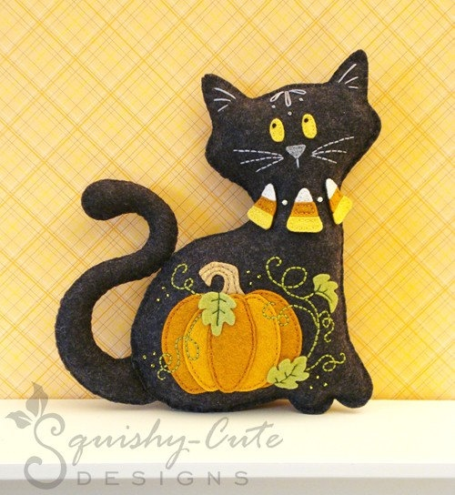 Stuffed Animal Pattern - Felt Plushie (repinned) Sewing Pattern & Tutorial - Midnight the Halloween Cat - Halloween Embroidery Pattern PDF. $4.00, via Etsy.