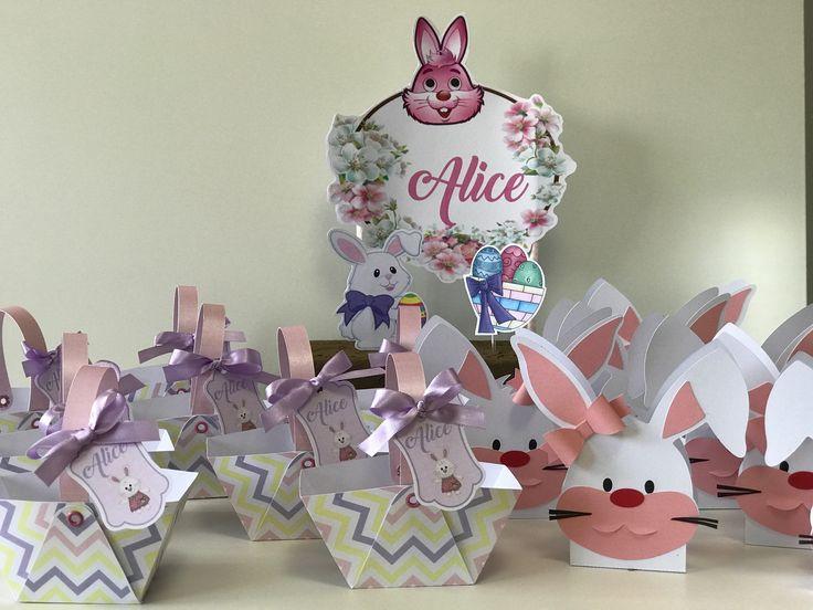Topo de bolo e personalizados tema páscoa produzidos por Mônica Guedes