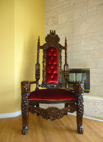 king throne chair carved lion heads gothic baroque 6 ft double available also ebay