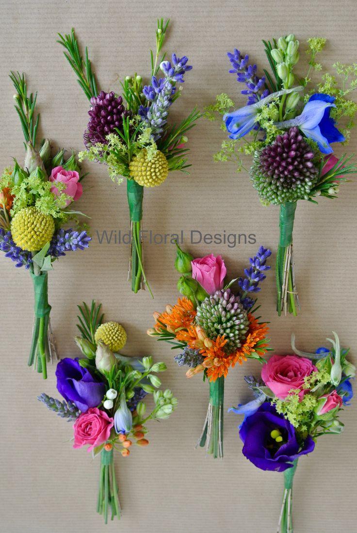 Mixed Boho bright buttonholes, wedding, festival, Lavender, Allium.