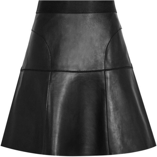 LEATHER A-LINE SKIRT ($185) ❤ liked on Polyvore featuring skirts, mini skirts, black, bottoms, saia, real leather skirt, a line mini skirt, short a line skirt and leather skirts