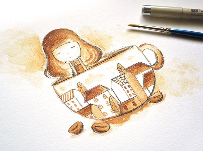 #illustration of a little girl in a coffee cup