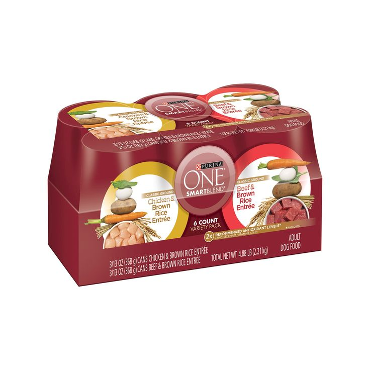Purina One Classic Ground Chicken Brown Rice & Beef Brown Rice Entrée Wet Dog Food - 13oz cans / 6pk