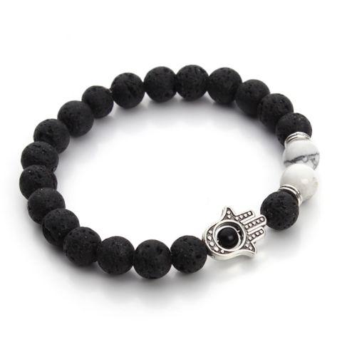 Bracelets : The Hand of Hamsa, Lava Stone, Matte Black and White