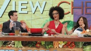 Groundnut Stew -- Carla from the Chew servings: 5 - 6 Easy 1 to 2 hr Carla's spicy peanut stew is the perfect vegetarian meal to warm your family on a cold winter night.  This was the one she did with Rosie Perez on the 2015 Chew/View cook-off.