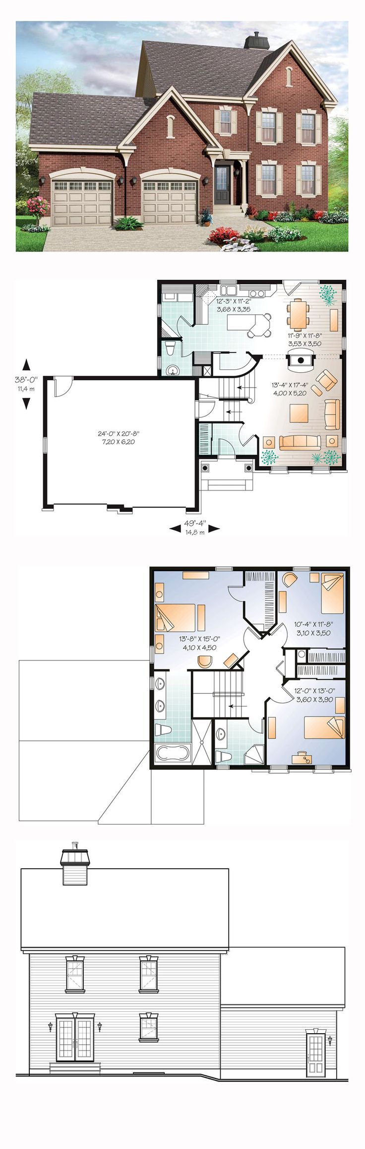 Colonial House Plan 76279 | Total Living Area: 1807 sq. ft., 3 bedrooms and 2.5 bathrooms. #colonialhome