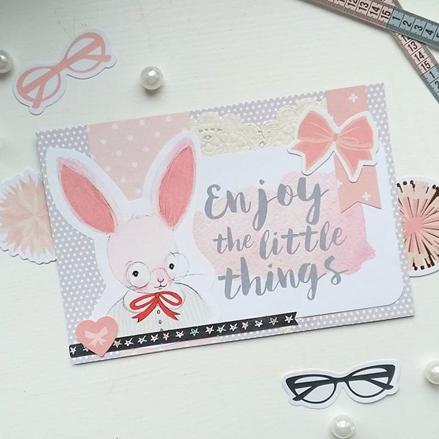 Say hi to Mr Rabbit from @itspaperdear familyhe tells you to enjoy the little things, even if they are so small that you need glasses #cardmaking #snailmail #sendmoremail #happymail #enjoythelittlethings #peach #rabbit #glasses #diecuts #sticker #ephemera