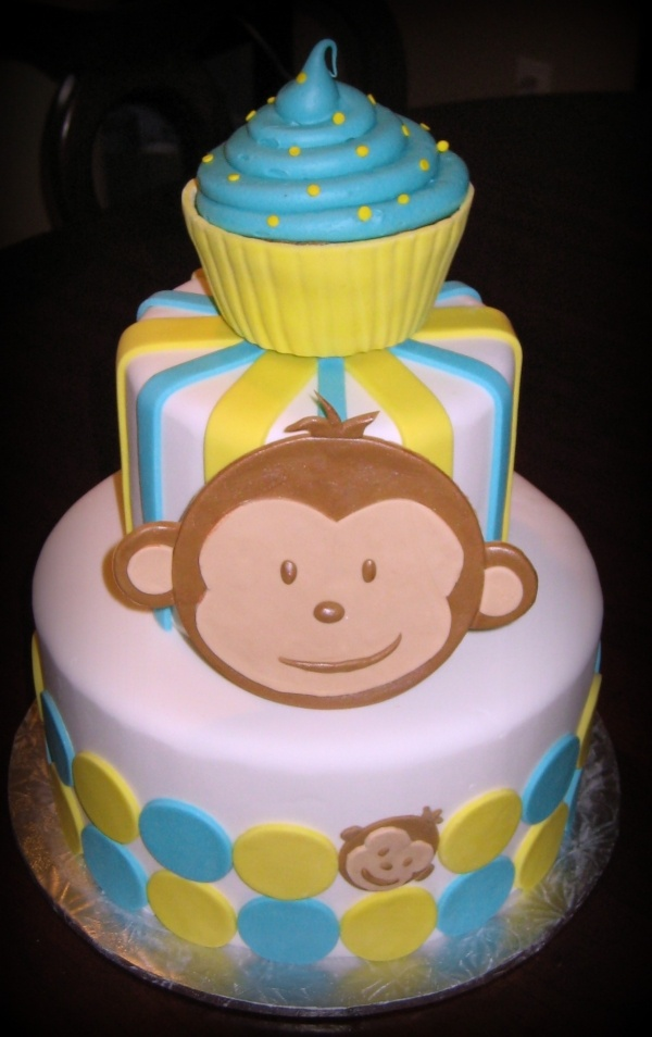 Mod Monkey Cake! little smash cake cupcake on top.  Too CUTE!!!