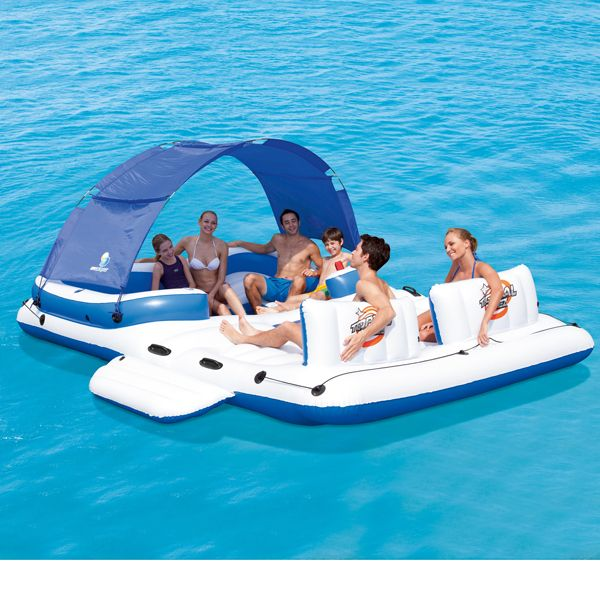 Relax in style this season - Bestway Inflatable Island Raft - Tropical Breeze - with Removable Drink Cooler & Sunshade - up to 6 people!
