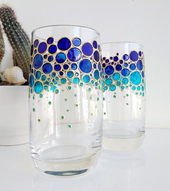 Blue Drinking Glasses Set For Couple Painted Glass Tumblers Etsy Painting Glassware Broken Glass Art Glass Painting Designs