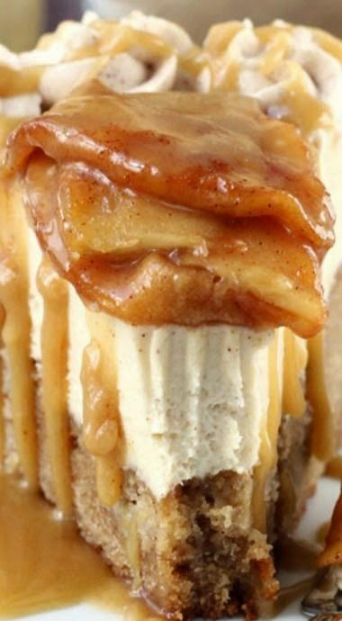 Caramel Apple Blondie Cheesecake - This is one amazing cake! All of my favorite things about fall wrapped in one! :D