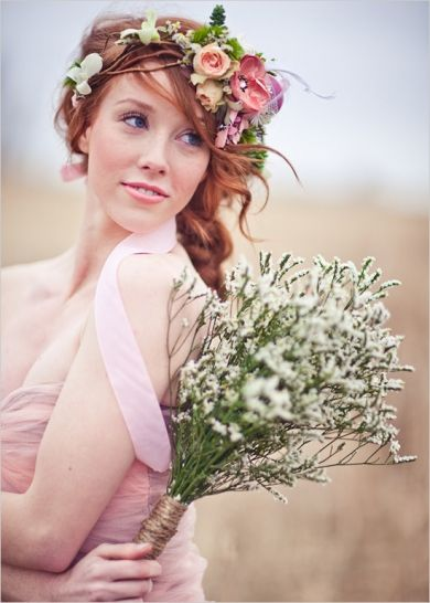 shabby chic romantic  bridal brides dress flowers hair headpieces boho bouquet hippie pink wedding