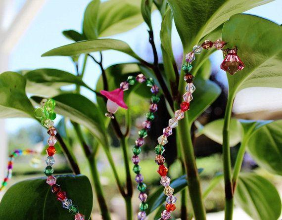 Plant Stake Beads Wire Garden Yard Art Jewlery By