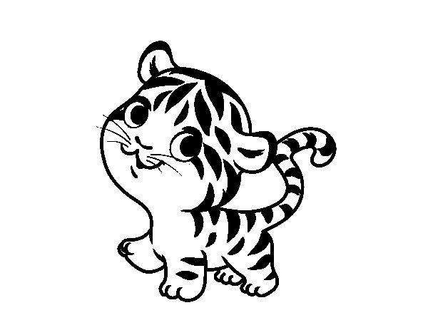 Dibujo De Tigre Bebe Para Colorear Con Imagenes Imagenes De