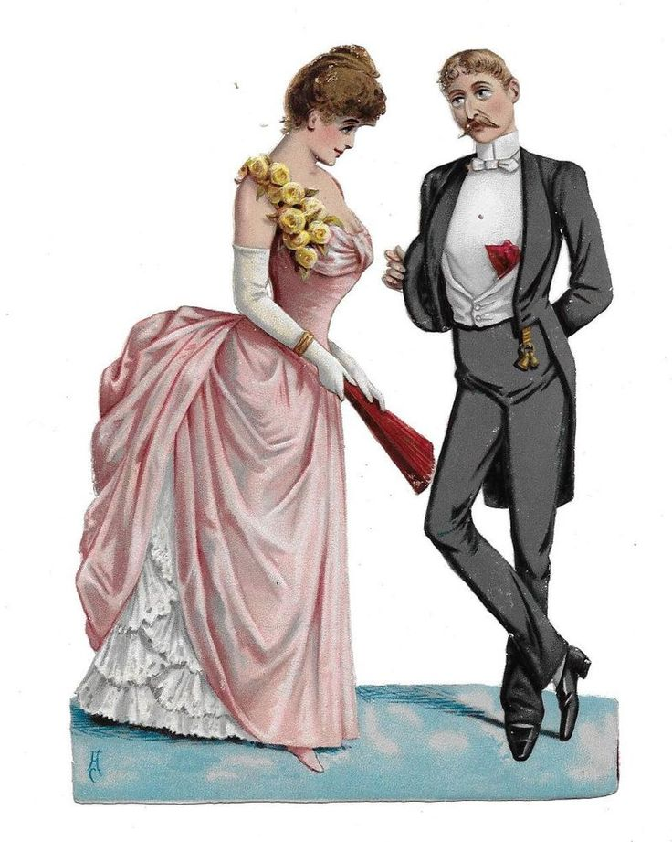 Victorian Die Cut Scrap Couple Courting