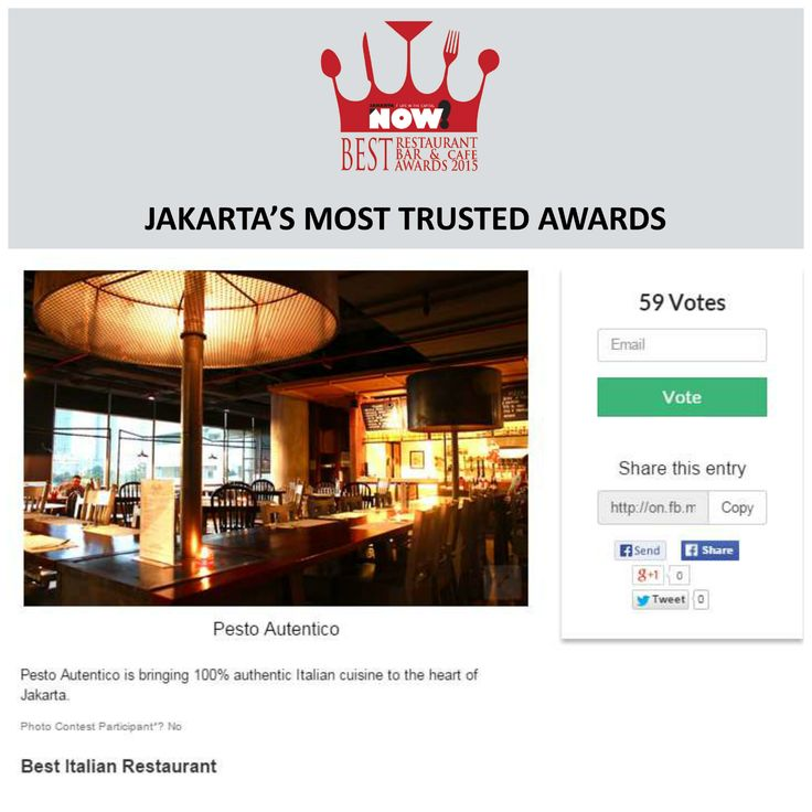 Give your vote for Pesto Autentico for The Best Italian Restaurant on #BRBCA2015! #Jakarta #NOWJakarta #LifeinTheCapital #BRBCA #Best #Italian #Restaurant #Category #Awards #Award #Event #Events #Pesto #Autentico #PestoAutentico #PestoJakarta #PestoJKT #Indonesia #Brunch #Lunch #Dine #Dining #Diner #Hangout
