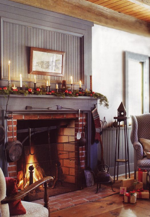 I adore the color of this mantle and the wall behind it. Primitive Holiday Hearth