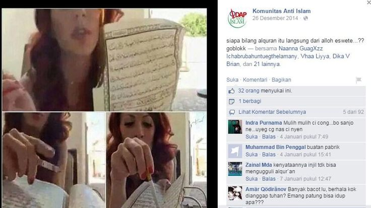 nyatnyut.com - NyatNyut.com – Sebuah fans page yang menamakan dirinya sebagai Komunitas Anti Islam mengunggah postingan gambar yang keterlaluan....