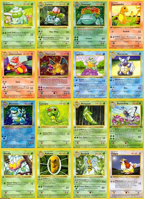 The Original 150 Pokemon Trading Cards