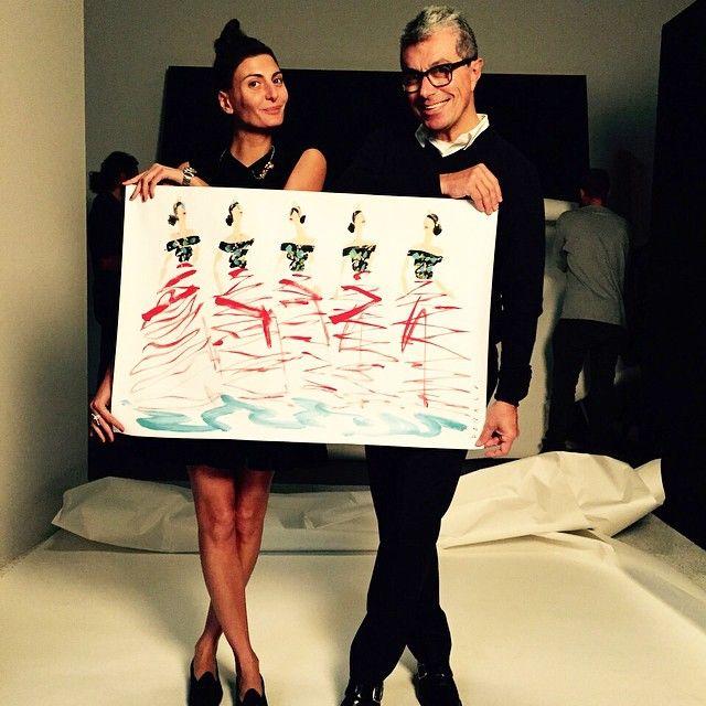 #GiovannaBattaglia Giovanna Battaglia: Thank you @deweynicks for the beautiful @donalddrawbertson drawing of me at the Met in. @dolcegabbana and thank you @giorgioguidotti15 for the delivery @stefanogabbana ❤️