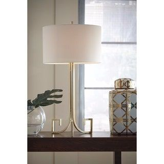Shop For Signature Design By Ashley Jankin Antique Gold Finish Metal Table Lamp Get Free