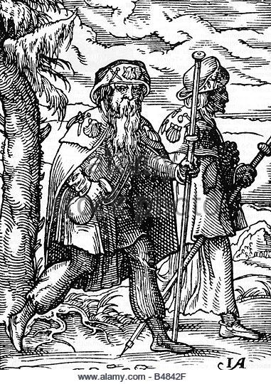 religion, pilgrimage, pilgrims, on the way to Santiago de Compostela, woodcut by Jost Amman, 16th century, middle - Stock Image