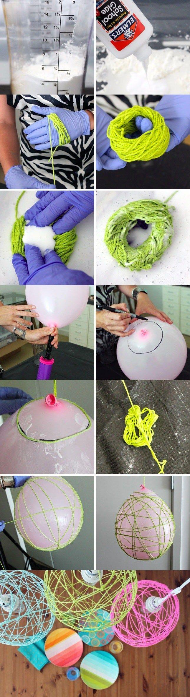 Lámparas de lana - brit.co - DIY Yarn Lanterns