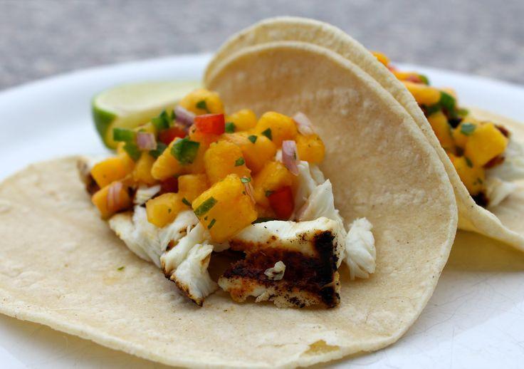 Halibut tacos with peach salsa