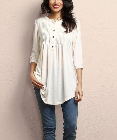Another great find on #zulily! Cream Notch Neck Pin Tuck Tunic by Reborn Collection #zulilyfinds