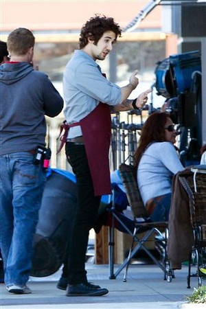Josh Groban on the set of 'Coffee Town.' Besides the apron, a guy could pull off this look.