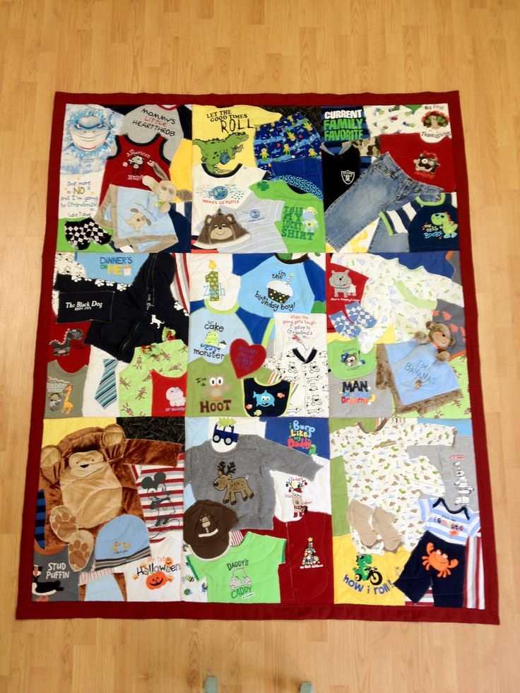 Don't throw away those old baby clothes! If you want to keep a few around, think about a memory quilt. 22hands on Etsy.