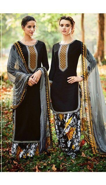 Black Cotton And Satin Patiala Salwar Suit With Printed Dupatta - DMV14682