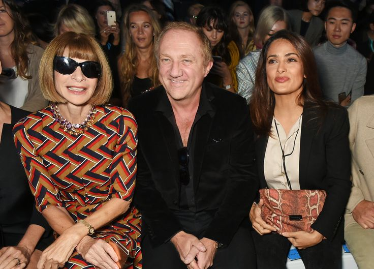 Salma Hayek, husband Francois-Henri Pinault . . . and Vogue Editor in Chief Anna Wintour just went on a date to the Hunter Spring 2016 London Fashion Week show. OK, Salma and Francois-Henri went on a date. Anna just happened to be there.