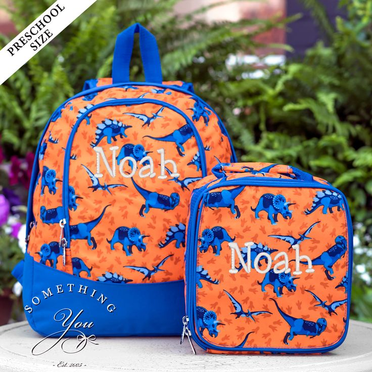 Something You - Dino-Mite Dinosaur Gift Set of 2 - Monogrammed PRESCHOOL Backpack and Lunchbox, $53.90 (http://www.somethingyou.com/new/dino-mite-dinosaur-gift-set-of-2-monogrammed-preschool-backpack-and-lunchbox/)