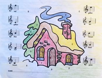 Consider this Musical Cabin Treble Clef color/worksheet as learning task, fun practice activity or assessment. It is also a great activity to leave for a substitute to keep students engaged in learning or as a center activity. Students color the spaces on the picture according to notes on the staff labeled with colors. Encourage the students to use different shades of color to enhance their finished picture.