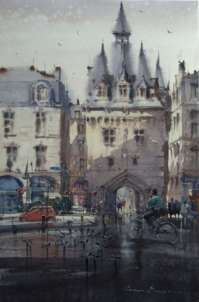 A bit of French medieval beauty in the contemporary landscape of Gorean Eugeniu artist. Eugeniu Gorean Bordeaux after the rain