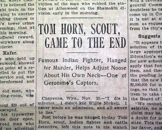 Old West Historical Documents | Tom Horn Old West Scout Outlaw Hanging Execution…