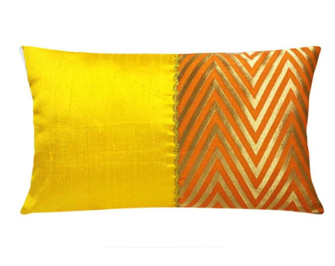 Yellow Orange Silk Kantha Pillow Long Lumbar Pillow House Warming Gift Handmade Silk Throw Pillow De Silk Cushions Covers Silk Pillow Cover Silk Pillow