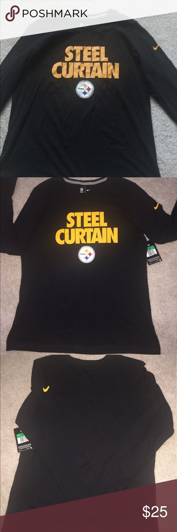 """BLACK/GOLD STEELERS TSHIRT🚫FINAL MKDWN🚫 Ladies STEELERS NIKE T-SHIRT. Black with """"STEEL CURTAIN"""" in GOLD, on front. Plain BLACK on back. NWT. Rounded Neck Nike Tops Tees - Long Sleeve"""