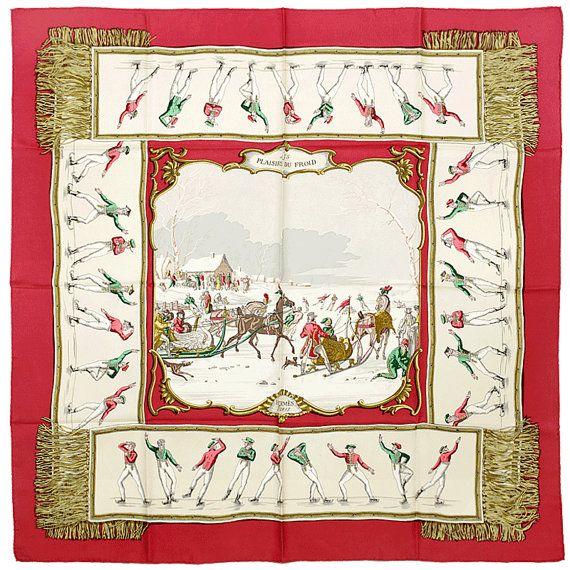 Les Plaisirs du Froid by Hugo Grygkar Hermès Silk Scarf: Shades of Red | Vintage Carré | @vintagecarre | www.vintagecarre.com