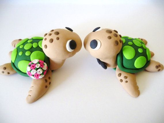 Sea Turtles Wedding Cake Topper - Choose Your Colors on Etsy, $65.00