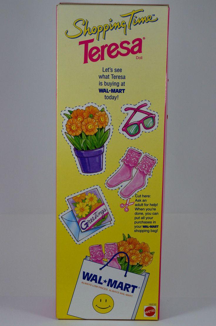 NIB-1997 WALMART SHOPPING TIME TERESA BARBIE DOLL-SPECIAL EDITION-BRUNETTE-BAG! | eBay