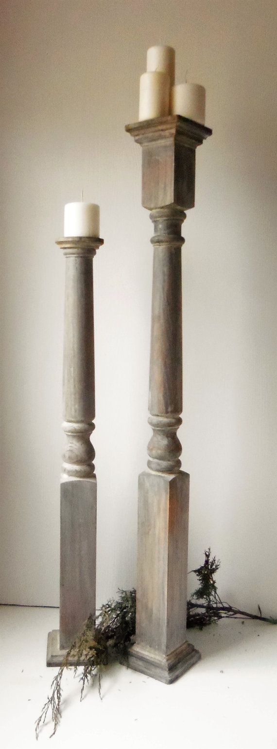 This is a pair of super tall candle holders that I designed and painted in the Restoration Hardware driftwood look. They are solid oak wood. HEIGHT TALLER CANDLE HOLDER-47 INCHES WIDTH-5 INCHES SHORTER- 34 INCHES WIDTH-5 INCHES