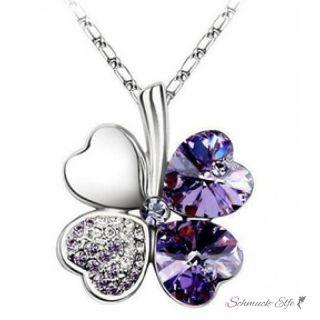 Kleeblatt Swarovski Elements dunkel lila  inkl. Kette  im...