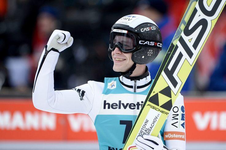 NAPROSTÁ SPOKOJENOST. Roman Koudelka oslavuje vítězství v Engelbergu.