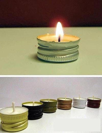 DIY candles from bottle caps, I love this! Would be cool to paint the bottle caps first