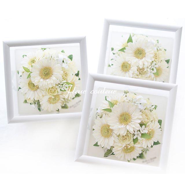 ガーベラのオーバルブーケよりプチサイズ額に3シェアで保存加工させていただきました。白いガーベラの花言葉は「希望」。新しい生活をスタートさせるおふたりの門出にぴったりのお花ですね☆ #フルールクルール  http://www.fleurcouleur-d.com/ ✉sport20@paw.hi-ho.ne.jp  挙式後のお申込みもOK!  すでにブーケがお手元にある方、お急ぎの方は直接お電話ください✨  TEL:082-961-3007  #ブーケ保存 #アフターブーケ #結婚式準備 #結婚準備 #ブーケ加工 #プレ花嫁 #入籍 #婚姻届 #プ%