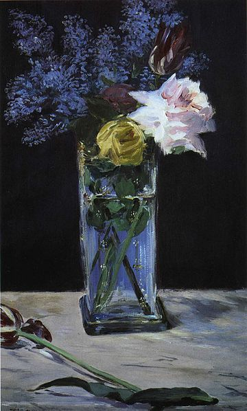 Édouard Manet - Roses, Tulips et Lilas dans un vase de christal