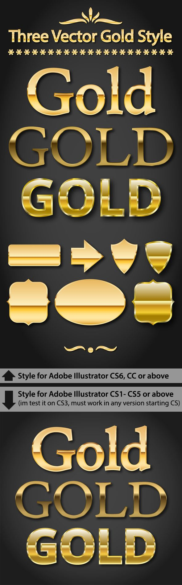 Gold Text Styles for Adobe Illustrator #design #ai Download: http://graphicriver.net/item/gold-text-styles-for-adobe-illustrator/13065375?ref=ksioks