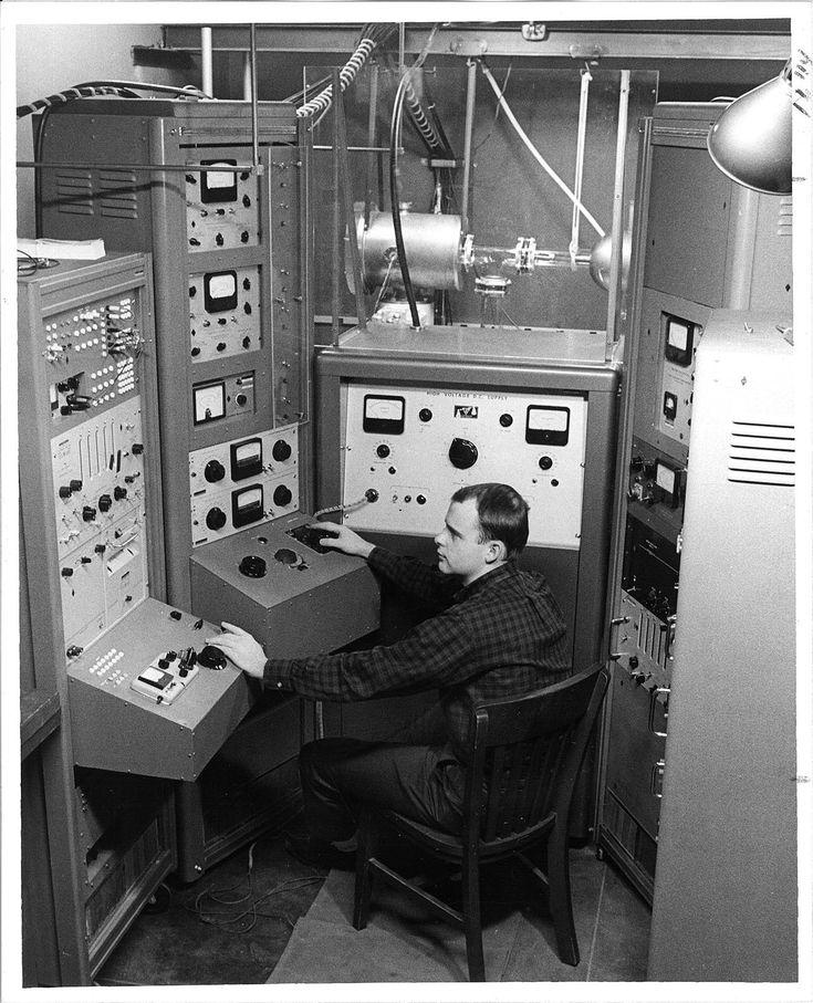 "iowacitypast:  "" Graduate student John Craven as controls with physics study, The University of Iowa, 1950s  Photographer: Kent, Frederick W.  Source: http://digital.lib.uiowa.edu/cdm/ref/collection/ictcs/id/10670  """
